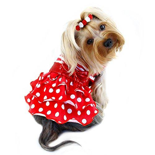 Klippo Hund/Welpen Sundress/Party/Weihnachten/Urlaub/Valentinstag/Festive/Fancy/Formale Sparkling Schleife Kleid für Kleine Rassen, Small, Rot - Valentinstag-formale Kleid