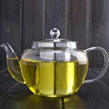 EZ Life Elegant Glass Tea Pot With Stainless Steel Filter & Lid-500ml- Borosilicate Glass