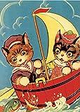 Gatti Pesca in una Barca Barile - Cartolina di auguri