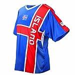 MC-Trend Island Fussball Trikot Blau Rot Mannschaft Weltmeisterschaft UNISEX (M)