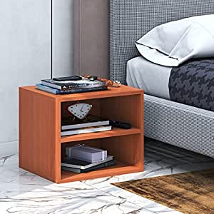 Klaxon Engineered Wood, Matt Finish Pansy Side Table/Wooden Two Drawer Storage Cabinet with One Fabric Box (Cherry & Brown, Set of 1)