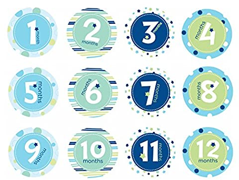 Pearhead Baby Milestone Belly Stickers (Blue)