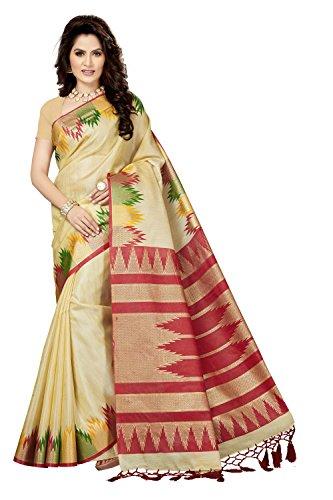 Rani Saahiba Art Silk Saree with Blouse Piece (SKR3523_Beige - Red_One Size)