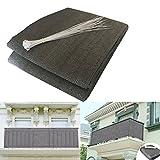 HQSBrise-Vue/Voiles d'ombrage 500 x 90cm Abriter du Vent/la Pluie/le Soleil pour Balcon Terrasse avec Oeillets Gris