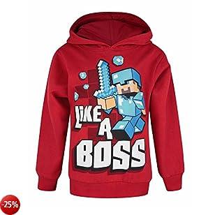 Minecraft - Felpa con cappuccio ufficiale con scritta Like A Boss - Bambino (anni (11/12)) (Rosso scuro)