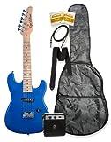 "32"" Metallic Blue Junior Kids Mini 1/2 Size Electric Starter Guitar and Amplifier"