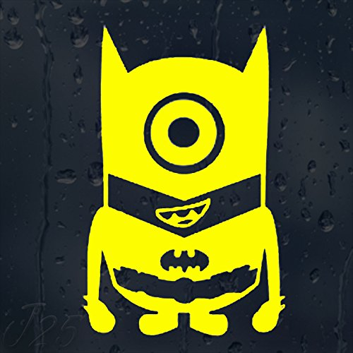 Funny-Cartoon-Super-Hero-MiniOn-Batman-Car-Or-Laptop-Aufkleber-Vinyl-`+ Bonus Testaufkleber