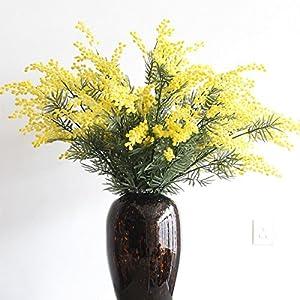 GSYLOL Amarillo Flocado Flores de Cerezo Mimosa Pudica Acacia Bouquet Flor Artificial Flor floral Home Wedding Decoration