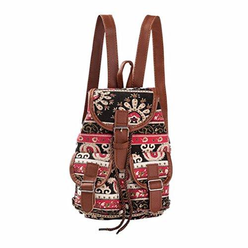 Koly_Travel Bag donne del vento nazionale di stampa dello zaino Drawstring (C)
