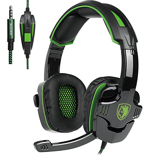 SADES SA930 3.5MM Stereo Surround Gaming Headset Mit Mikrofon Lautstärkeregelung Over-Ear Kopfhörer Wired Für PC/MAC/PS4/Smartphone/Tablet (Schwarz&Grün)