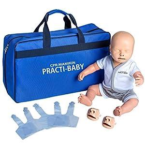 PULOX Trainingspuppe Practi-Baby Reanimationspuppe HLW mit Gesichtsmaske, 5 Luftbeuteln und Tragetasche