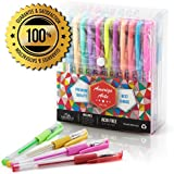 Amazing Gel Pens for Adult Colouring Books by Amerigo - Set of 48 Assorted Colors Includes Glitter, Metallic, Pastel, Neon Gel Pens (Black included) - Express Yourself + GRIP for Your COMFORT!