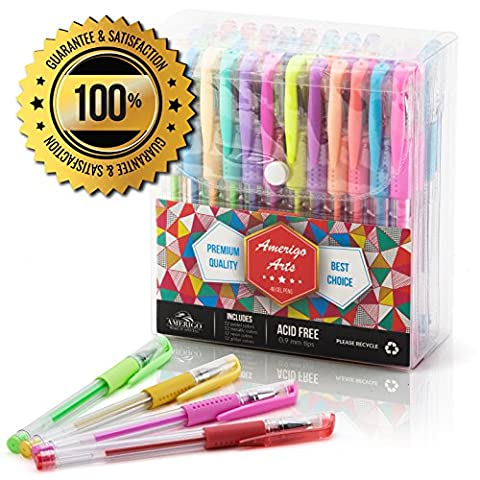 Amazing Gel Pens for Adult Colouring Books by Amerigo - Set of 48 Assorted Colors Includes Glitter, Metallic, Pastel, Neon Gel Pens (Black included) - Express Yourself + GRIP for Your