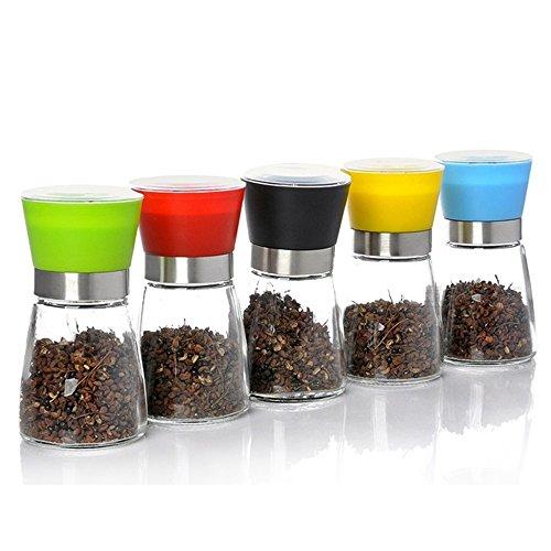JD Regal Bleifreies Glas Zweiteilige (rot/blau/schwarz/grün/gelb) / fünfteilige Küche-Keramik Manuelles Schleifen Condiment Flasche Größe: 6,5 * 12,5 cm Kapazität: 180ml Haltbar (Farbe : A)