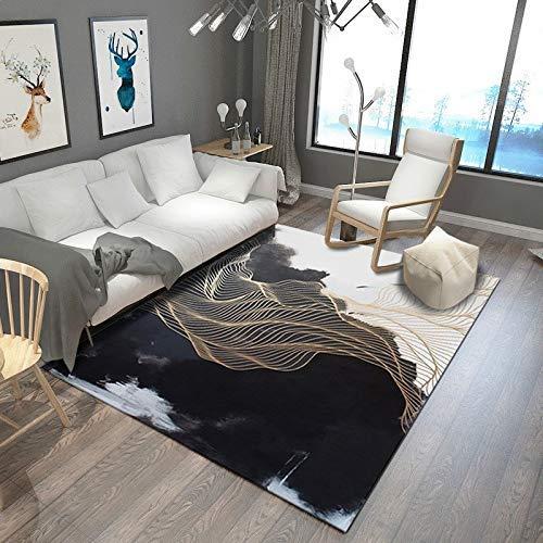 ch Schwarz und Weiß Kreative Linien 3D Gedruckter Teppich mit hoher Dichte Geeignet für Familien Wohnzimmer Schlafzimmer, 80 cm (H) X 120 cm (W) ()