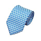 pale Blue & White Checked Check Silk Tie Italian Design Great For Weddings, Formal Occasions, Smart Work Wear - Jason&Vogue - amazon.co.uk