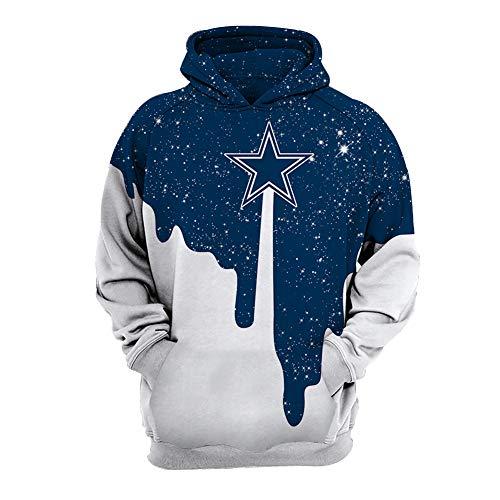 WYDHHLD Dallas Cowboys Unisex 3D Printed Hoodies Pullover Sweatshirts mit Taschen für Männer Frauen,S