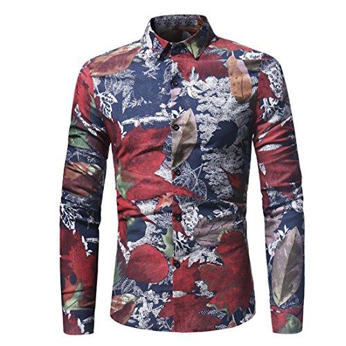 Herren Lange Ärmel Hemd,Friendgg Persönlichkei Casual Blatt Drucken Beiläufig Frühling Herbst Sommer Winter Schlank Mode T-Shirt Shirts Tops Bluse Pullover für Männer (M, Rot)
