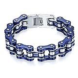 Cupimatch Motorrad Armband Herren Edelstahl Fahrradkette Armband Gliederarmband 16mm Breite Kette 22cm für Jugen, Blau