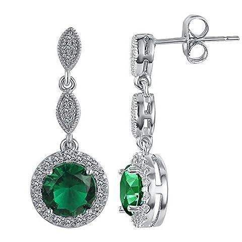 Yoursfs Boucles d'oreilles argent plaqué Pendantes en Emeraude et Cristal pour Femme comme Cadeau Anniversaire Mariage Noël