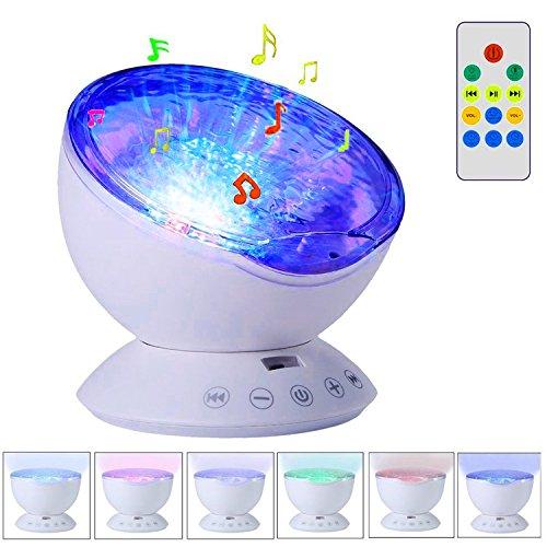 Ozean Wellen Projektor Nachtlicht mit eingebautem Musik-Player und Fernbedienung 7 Farb-Licht-Modus für Kinder Erwachsenen-Schlafzimmer Wohnzimmer Outdoor Reise Party Dekoration (Weiß)
