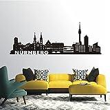 HomeTattoo ® WANDTATTOO Wandaufkleber Skyline Nürnberg Stadt Wohnzimmer Flur City 605 XL ( L x B ) ca. 58 x 165 cm (schwarz 070)