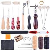 NOUVCOO Outils Couture Cuir, 26pcs DIY Alêne Ciré Thread Corde de Cire Aiguille En Cuir Sac à Fermeture à Glissière Toile ou d'autres Projets de Bricolage en Cuir Artisanat NC60