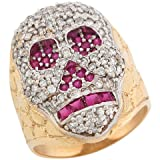 14ct Gold Brilliant Lab Created Gems Nugget Skull Strong Big Mens Ring