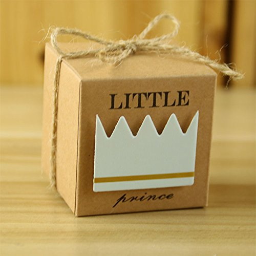 zantec 50neue europäische Stil Candy Box Little Prince/Princess Krone Kraft Boxen Girl Boy Geburtstag Decor Gastgeschenken Prince Crown