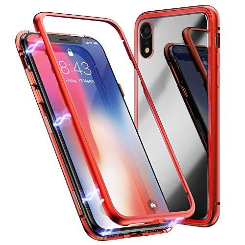 Schutzhülle für iPhone XR 6,1 Zoll, Jamicy  Magnetische Metallstoßglas-Glasabdeckung (Rot)