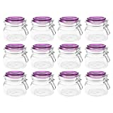 12 Einmachgläser mit Bügelverschluss - 11 x 11 x 10 cm (LxBxH), 500 ml, Glas, Deckelfarbe lila, Silikon-Dichtungsring