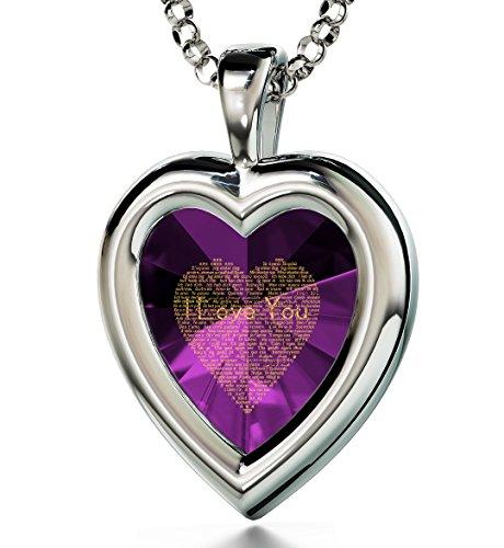 """Pendentif Cœur en Argent pour femme - Inscription miniature de """"Je t'aime"""" en 120 langues à l'Or 24ct Violet"""