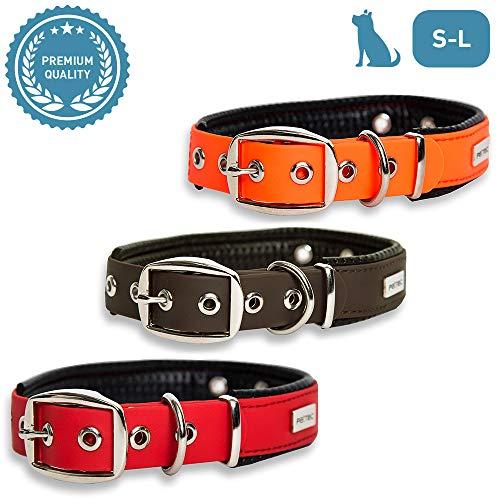 PetTec Hundehalsband aus TrioflexTM mit Polsterung, Wetterfest, Wasserabweisend, Robust (Rot, Braun, Schwarz, Orange)