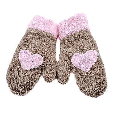 Butterme élégant mignon de coeur d'amour de conception de Super doux Fuzzy gants plein doigt chauds Gants Meilleur cadeau de Noël pour Femmes Filles café