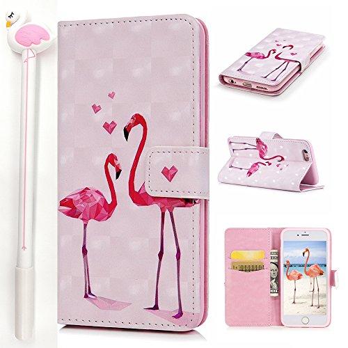 iPhone 6S Plus 6 Plus Lederhülle, Flamingo Gel Stifte, E-Unicorn Apple iPhone 6S Plus 6 Plus Hülle Flamingo Leder Case für Mädchen 3D Glitzer Muster Rosa Schutzhülle Handyhülle Flip Case - Iphone Leder Geldbörse Plus Rosa 6