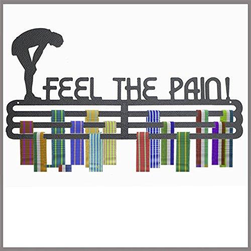 """The Runners Wall Medaillen-Aufhänger, englischer Schriftzug """"Feel the pain"""", Polypropylen, 3-reihig - Race-medaille Aufhänger"""