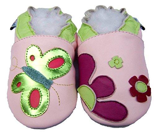 Krabbelschuhe Schmetterling Hausschuhe Baby Lederhausschuhe Glitzergrün Jinwood 5wIzaa