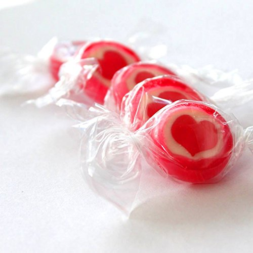Rocks Bonbons Herz, rot-weiß, 500gr (ca. 140 Stk.) - Bonbons mit rotem Herz für eine süße Tischdeko zur Hochzeit, Kommuinion, Konfirmation oder Taufe