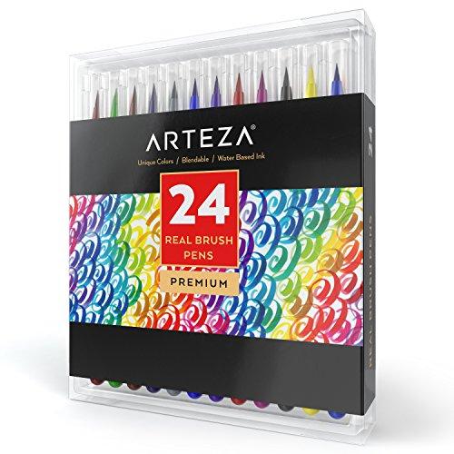 Pinselstift Set — Hochwertige Brush Pen Fasermaler Set mit 24 verschiedenen Farben