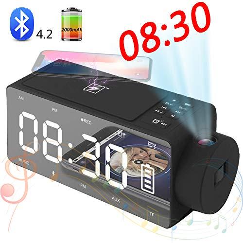 SHENGY Projektionswecker Bluetooth-Lautsprecher mit drahtlosem Aufladen DIY-Klingelton, One-Click-Snooze, Bluetooth-Anruflautsprecher, FM-Radio-AUX, TF-Karteneingang,Black - Decken-lautsprecher Besten