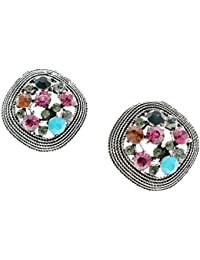 Tribal Zone Sterling-silver Stud Stone Earrings For Girls And Women.