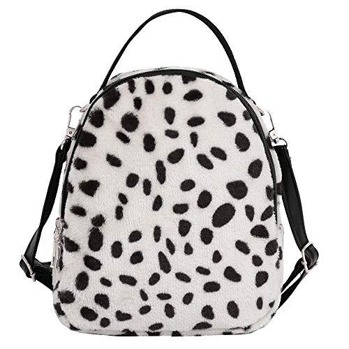Bobopai Clearance Women Girl Corduroy Leopard Print Bag Student Satchel Travel School Backpack (White) -