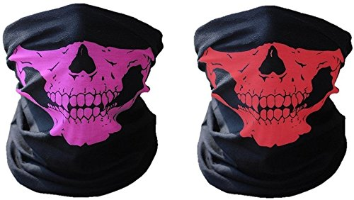 2 x Premium Multifunktionstuch | Sturmmaske | Bandana | Schlauchtuch | Halstuch mit Totenkopf- Skelettmasken für Motorrad Fahrrad Ski Paintball Gamer Karneval Kostüm Skull Maske ... (Rot und - Für Erwachsene Raum Kostüm