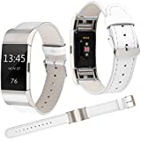 Armband für Fitbit Charge 2, Qianyou Lederarmband Erstatzband mit Metall Adapter für Fitbit Charge 2 Frauen Männer Fitness Armband (Weiß)
