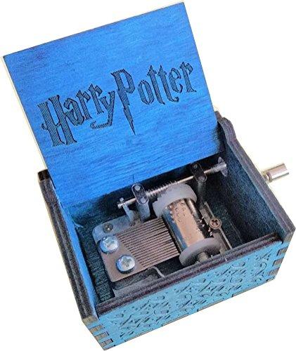 BADARENXS Reine Hand-klassischen Harry Potter Musik-Box Hand-hölzerne Spieluhr kreative Holz Handwerk beste Geschenke (Harry Potter Magisches Blau)