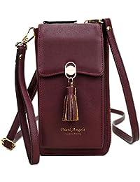 Pearl Angeli RFID Bloqueo Mujer Tarjetas de crédito Monedero Monedero Teléfono móvil Bolso Bandolera para Mujer Piel sintética (Vino Tinto)