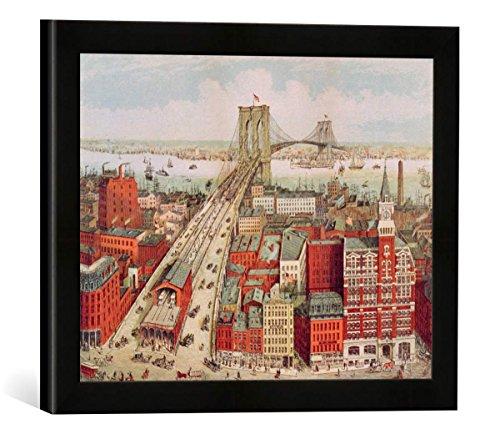 Gerahmtes Bild von R. nach Schwarz Brooklyn Bridge, c.1883, Kunstdruck im hochwertigen handgefertigten Bilder-Rahmen, 40x30 cm, Schwarz matt (Brooklyn Bridge 1883)