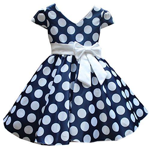 ZOEREA Mädchen Kids Kleid Rock V-Ausschnitt Polka-Punkt-Gurt-Rüsche-Ballettröckchen-Kleid-Prinzessin-Partei-Kleider Garn Schulter Pailletten Blumenmädchenkleid (Eingefroren Mädchen Kleider)
