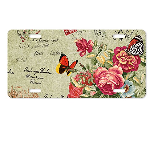 warrantyll Neuheit Metall Tüllen Gemälde Schmetterlinge Blumen Lizenz Platte 6von 30,5cm