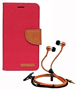 Aart Fancy Wallet Dairy Jeans Flip Case Cover for Apple6G (Red) + Zipper Earphones/Hands free With Mic *Stylish Design* for all Mobiles- computers & laptops By Aart Store.